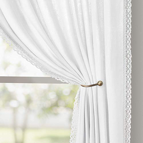 HOMEIDEAS Farmhouse Curtains for Living Room/Bedroom White Semi Sheer Curtains 52 X 84 Inches Long 2 Panels Light Filtering Linen Curtains, Airy Pocket Boho Window Curtains/Drapes