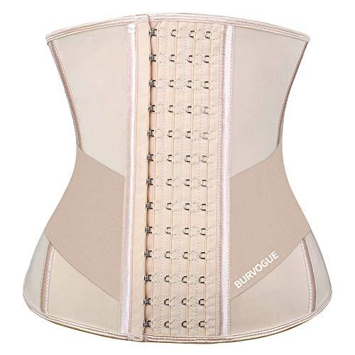 Burvogue Waist Trainer for Weight Loss-Women Trimmer Slimmer Belt Latex Corset Cincher Body Shaper (Skin 9 steel bones&waist belt, M(Waist 29.5'-31' ))