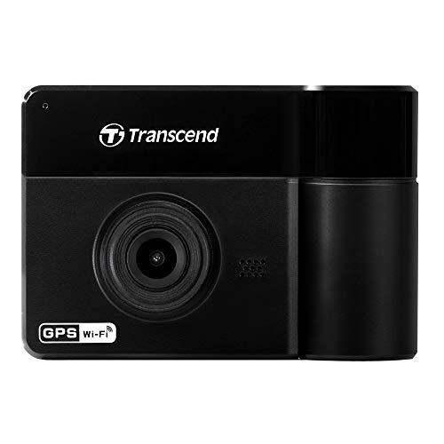 Transcend DrivePro 550 - Cámara para Auto Doble Lente: Doble Lente, Receptor GPS, Sensor Imagen Sony, batería integrada, microSD incluida, Montura de Succión