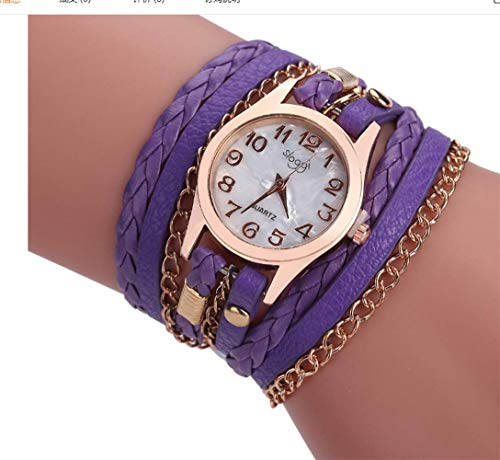 Scrox Quarz-Armbanduhr im Italienischen Stil, handgefertigt, verstellbar, Handgelenk-Schmuck, Armbanduhr, Lila, 22x2.5x1.5cm
