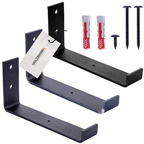 HOLZBRINK Metall Regalträger Regalhalter für Wandregal, Wandhalterung schwarz 200mm, 2 Stück, HLR-J-200-9005