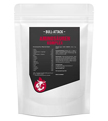 AMINO-KOMPLEX TABLETTEN (500 Stk) von Bull Attack | 8 essentielle Aminosäuretabletten - 500 vegane Tabletten hochdosierter Aminosäuren Komplex á 1000mg | Alle 18 Aminos für die optimale Versorgung der Muskulatur auch in Diät (500)