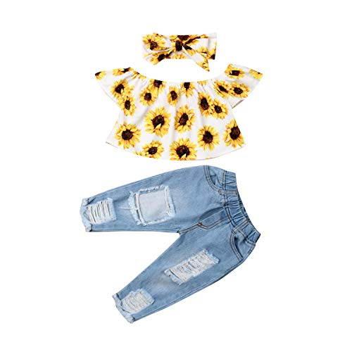 Kleinkind Baby Mädchen Outfits Schulterfrei Sonnenblumen Top Lange Jeans Hosen Stirnband 3 Stück Kleidung Set für Sommer Herbst (12-18 Monate, Weiße und gelbe Spitze)
