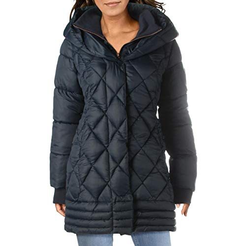 Jessica Simpson Womens Quilted Water Resistant Puffer Coat Navy L
