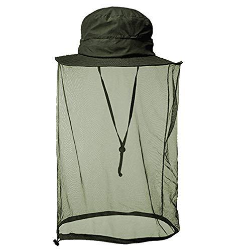 Mosquito Head Net Hat, Anti Bee Netting Boonie Hat Sun Safari Bucket Mesh Hat Cap Protector with Wide Brimmed for Men Women Outdoor Hiking Fishing Gardening Beekeeper - Green