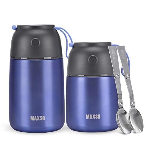 Wdmiya Lot de 2 Boîtes Alimentaires Isothermes 500ml+700ml Aliments en Acier Inoxydable Boite Isotherme Repas Chaud avec Une Cuillère Pliable Récipient Thermique pour Ecole Bureau sans BPA (Violet)