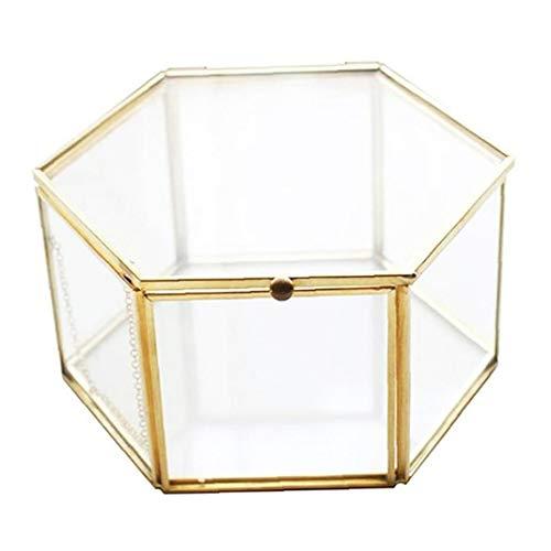 MICHAELA BLAKE Goldene Vintage-Schmuck Glaskasten, Geometric Aufbewahrungsbehälter Hexagonal transparente Fall für Ring-Ohrring-Blumen-Lagerung