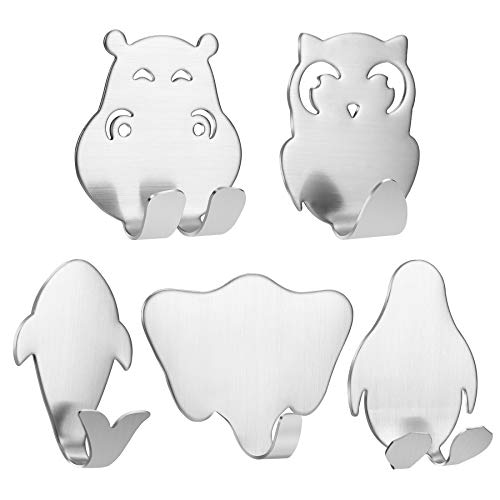 10 Pack Adhesive Hooks Cute Animal Hooks Strong Stainless Steel Hook,Heavy Duty Wall Hooks,for Hanging Kitchenware, Keys, Hat,Coat, Towel, Bathroom, Home, Kitchen, Office