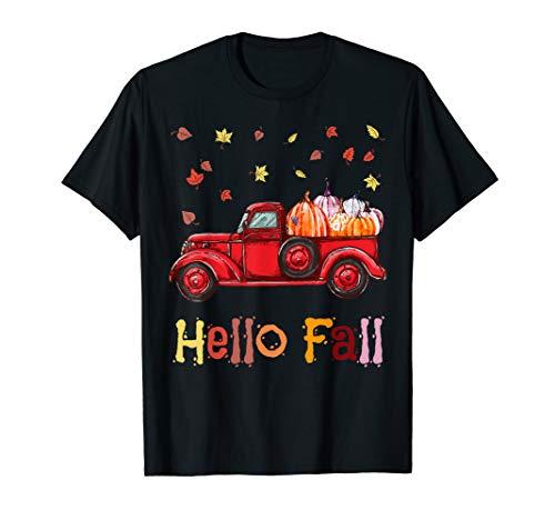 Hello Fall Truck Tee Happy Thanksgiving Day November Holiday T-Shirt