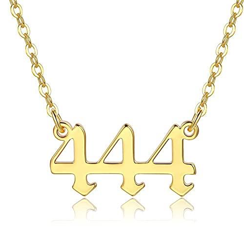 RXSHOUSH Colgante Colgante para Mujeres Oro Auspicioso Número Combinación Pareja Amante Madre Cadena de Cadena Collar 444