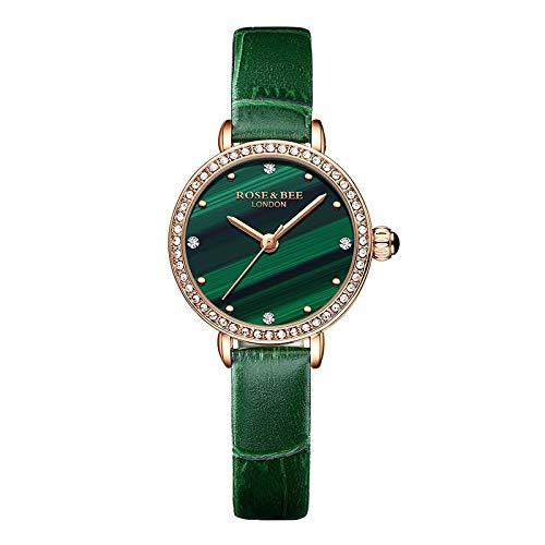 ZHEBEI Cuarzo japonés malaquita esfera verde diamante de lujo señoras cuero genuino impermeable 4021PV