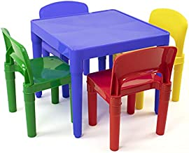 Humble Crew Kids Plastic 4 Set, Blue Table/Primary Chairs