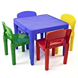 Humble Crew, Primary Kids Plastic Table and 4 Chairs Set