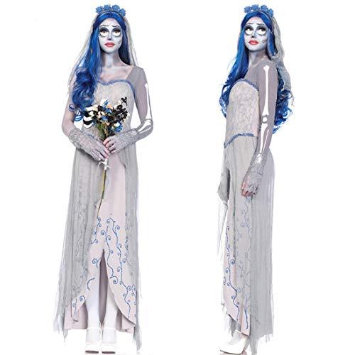 Xin Hai Yuan Tim Burtons Corpse Bride Cosplay Kleider Geist Zombie-Braut-Kostüm-Vampir Halloween-Fantasie-Partei Erwachsene Kleidung Hexe Kleid,M