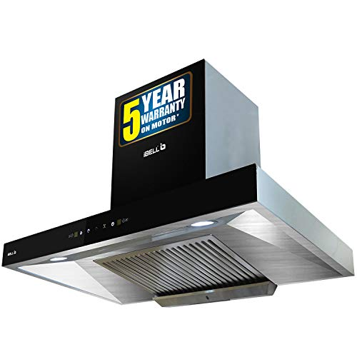 iBELL EL90K 90cm 900m3/hr Kitchen Chimney Hood With Auto Clean, Toughened Glass And Motion Sensor Technology (Double Layered Filter, Black)
