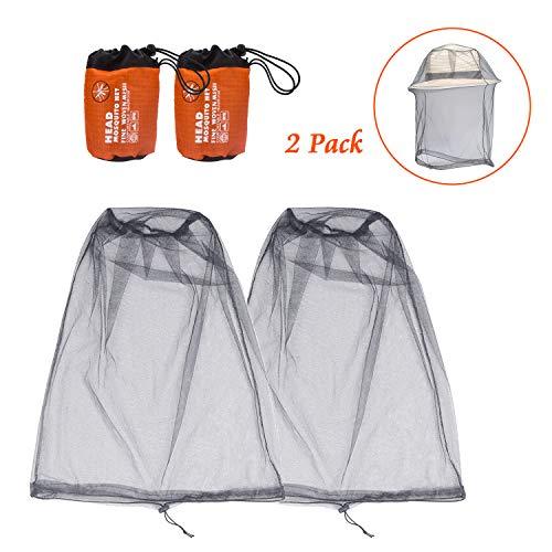 Beinhome 2er-Pack Kopf Moskitonetz, Netz für das Gesicht zum Schutz vor Mücken und Insekten, Netz für den Kopf, perfekt für Outdoor-Wanderungen, Camping, Klettern und Reisen (Grau)