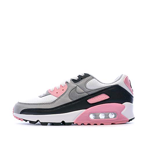 Nike W Air Max 90, Chaussure de Course Femme, White/Particle Grey-Rose-Black, 42.5 EU
