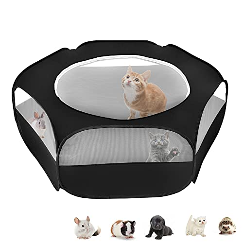 XIRGS Small Animal Playpen, Waterproof Small Pet Cage Tent Portable Outdoor Exercise Yard Fence with Top Cover Anti Escape YardFence for Kitten/Cat/Rabbits/Bunny/Hamster/Guinea Pig/Chinchillas