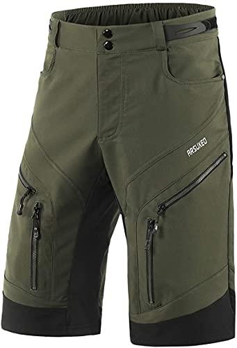 Hombres Pantalónes Cortos De Running 2-en-1,Pantalones Cortos Hombre Running Transpirable Shorts (Ejercito Verde,S)