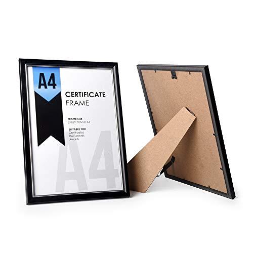 ewtshop® Urkunden-Rahmen, 2er Set, schwarz, für Urkunden im Format DIN A4 oder Kleiner super geeignet, Kunststoffrahmen