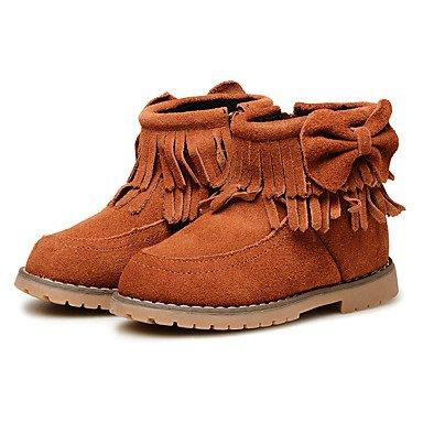 kekafu Mädchen Kinderschuhe Leder Winter Flaum Innenfutter Komfort Erste Wanderer Snow Boots Booties/Stiefeletten Bowknot Quaste für Hochzeit Kleid Rot, Braun, EU/US6.5 22/UK5.5 Toddle
