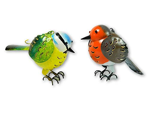 Thai Gifts Pair of Hanging Ornament Metal Bird Tea light/Candle Holders - Robin & Blue Tit