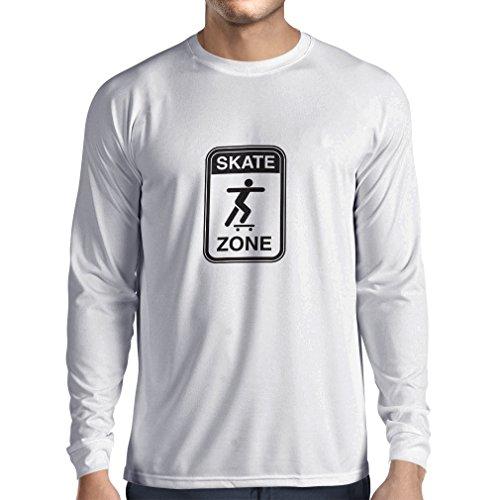 lepni.me Camiseta de Manga Larga para Hombre Skate Zone - para Patinadores, Skate Longboard, Regalos de patineta, Equipo de Patinaje (Medium Blanco Negro)