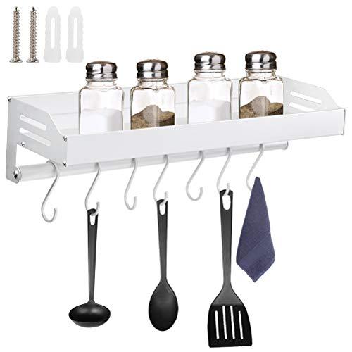 Estante de Cocina con 7 Ganchos Organizador de Aluminio para Utensilios de Cocina Estante Autoadhesivo para Baño 40cm Estantes Montados en la Pared