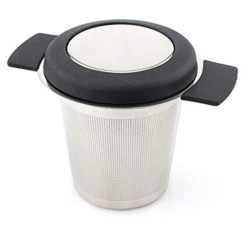 Tea Infuser, Stainless Steel Tea Strainer Filter with Silicone Handle,Reusable Safe Loose Leaf,for Different Mugs and Leaves to Steep Tea with Lid,Black