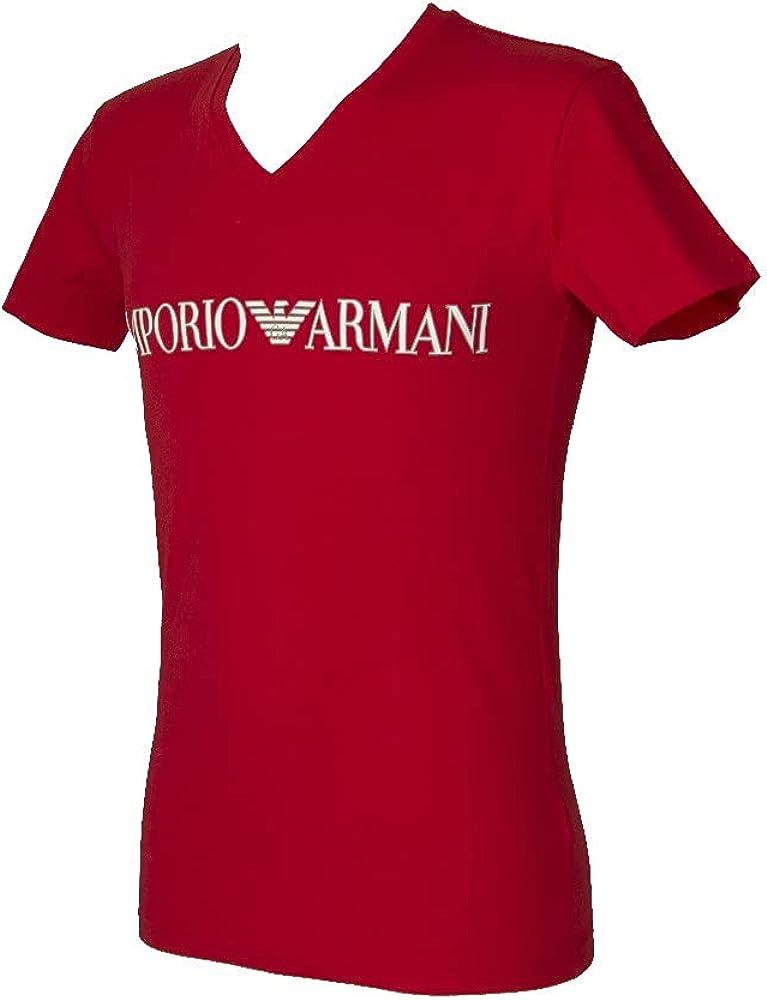Emporio Armani Men's V-Neck Max 72% OFF T-Shirt Megalogo Philadelphia Mall
