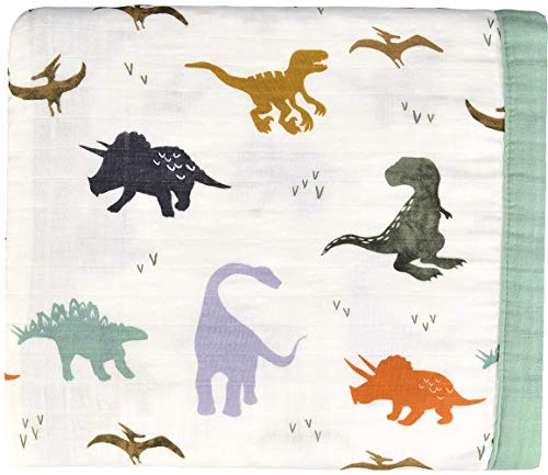 Little Jump Dinosaur Muslin Stroller Blanket - Bamboo Summer Blanket for Toddler - Oversized 47' x 47' - 2 Layers Muslin Baby Blanket for Baby Boy (Dinosaur) … (Dinosaur)