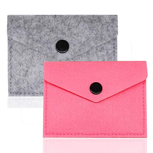 """2 Packs Birth Control Pill Case Pouch Cover for 4"""" x 3"""" Packets Contraceptive Medicine Holder -Cute and Discrete (Pink+Grey)"""