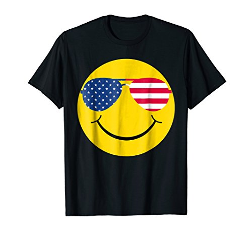 Cool Smiley Face With Red White & Blue Sunglasses Tshirt