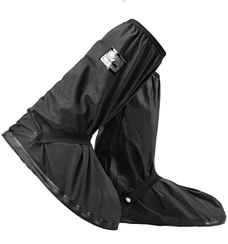 AMBITO Ochraniacze na buty przeciwdeszczowe na buty rowerowe, wielokrotnego użytku, ochrona przed śniegiem, kurzem i antypoślizgowe, z odblaskami, do aktywności na świeżym powietrzu, na kemping, do jazdy na rowerze, wspinaczki górskiej (XL)