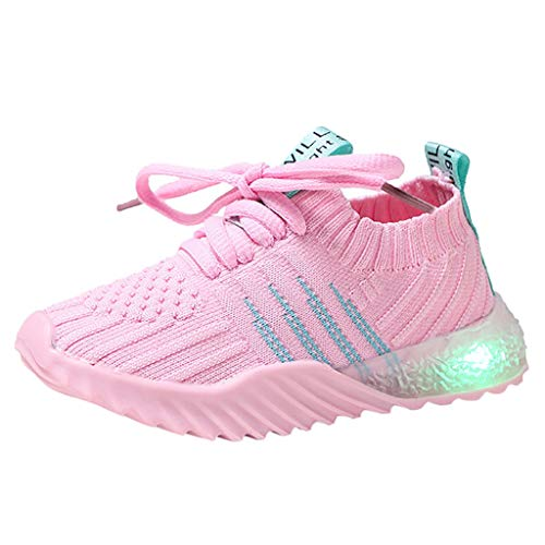 VEKDONE Baby Shoes Toddler Boys Girls LED Light Up Tennis Shoes Sneakers 1-6 Years Walking Running Shoes(Pink,18-24Months