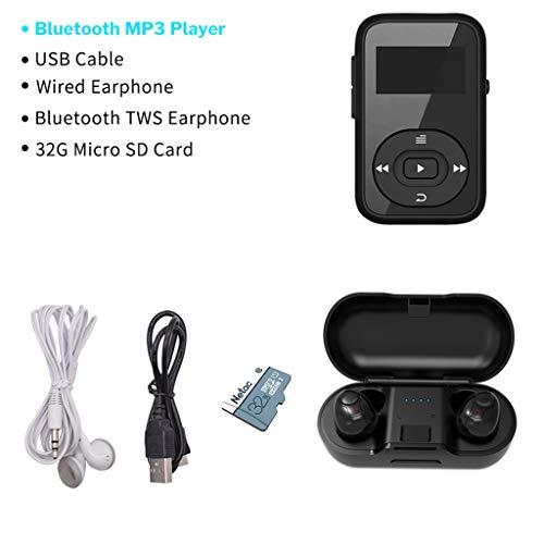 OLPvh MP3-speler, sport, MP3-speler, bluetooth, digitale clip, 8 GB, mini met beeldschermrecorder, FM-radio, stappenteller, ondersteunt TF-kaart, MP3, muziekweergave, Paquet D
