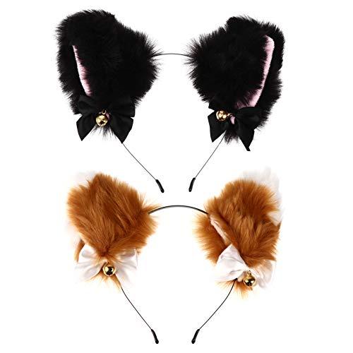 Beaupretty 2 Pack Cat Ears Headbands with Bell, Cute Plush Cat Ears Anime Cat Kitten Ears Cosplay Costume Party Headwear for Women Girls (Black, Brown)