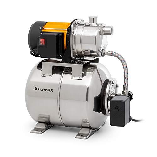 blumfeldt Liquidflow 1200 - INOX Pro Hauswasserwerk Gartenpumpe, Leistung: 1.200 Watt, Maximale Förderhöhe: 46 m, Fördermenge: bis zu 3.500 l/h, INOX Edelstahltank: 19 l, Max. Ansaughöhe: 8 m, Silber