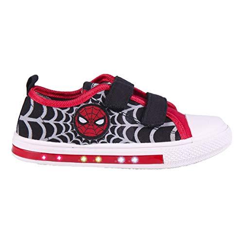 Cerdá 2300004708_T029-C65, Zapatilla Loneta con Luces de Spiderman-Licencia Oficial Marvel Studios, Negro y Rojo, 29 EU
