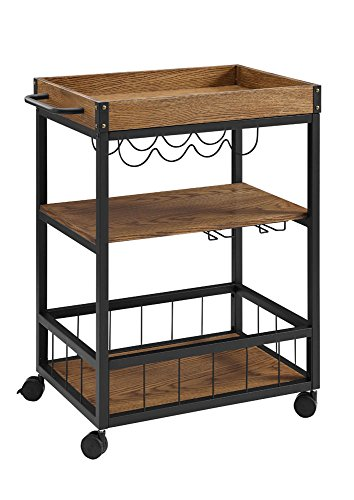 "Linon Austin Kitchen Cart, 30.5""W x 18.13""D x 36.25""H, Black"