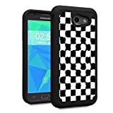 Galaxy J3 2017 case,J3 Prime/J3 Emerge/Sol 2/J3 Eclipse/J3 Mission Case,Spsun Dual Layer Hybrid Hard Protector Cover Anti-Drop TPU Bumper for Samsung Galaxy J3 2017,Checkered Flag