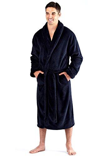 Albornoz para hombre de 300 g/m² de forro polar, liso, color negro o azul marino Azul azul marino XXL