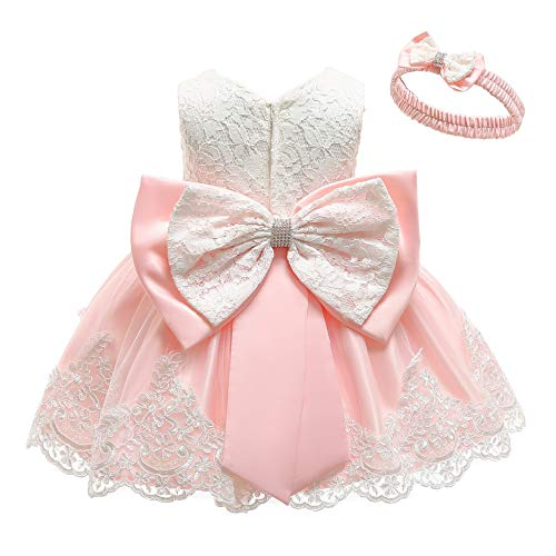 KILO&METERS Pink Formal Prom Summer Wedding Girls Dresses A-line Sleeveless Knee Length Tutu Ruffle Kids Dress Princess Christeing Birthday Party Baby Dress 3T Light Pink