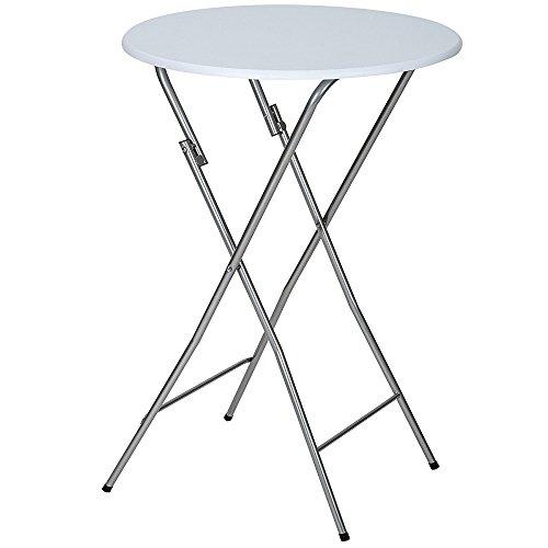 tavolo pieghevole metallo BAKAJI Tavolino Bistrot in Metallo per Esterno Pieghevole Diametro 60 cm Altezza 110 cm Tavolo Alto Piano Rotondo in MDF per Bar Casa Giardino Ristorante Colore Grigio