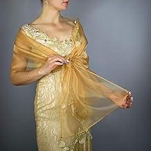 Stole donna organza scialli vestito da sposa nuziale poncho gold oro
