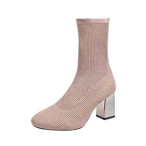 Botines para mujer Calcetines elásticos de punto Zapatos Tacones de bloque de punta cuadrada Botas antideslizantes transpirables Otoño Invierno