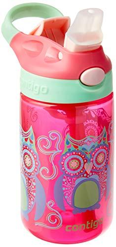 Garrafa de Água Infantil com Bico e Canudo, Contigo, Gismo Flip, Rosa, 414ML