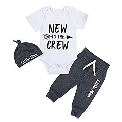 Newborn Baby Boy Clothes New to The Crew Letter Print Short Sleeve Romper+Long Pants+Little Man Hat 3PCS Outfits Set 0-3 Months