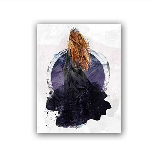 Suuyar Pôster Feyre Archeron Acotar Print Night Court High Lady Sarah J Maas Pintura em tela Fan Art Gift Decoração de parede para casa - 50 x 70 cm sem moldura