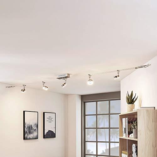 Lindby LED Seilsystem Leuchte 'Valeska' (Modern) in Alu aus Metall u.a. für Wohnzimmer & Esszimmer (5 flammig, A+, inkl. Leuchtmittel) - Seilleuchte, Hängeleuchte, Deckenleuchte, Wohnzimmerlampe